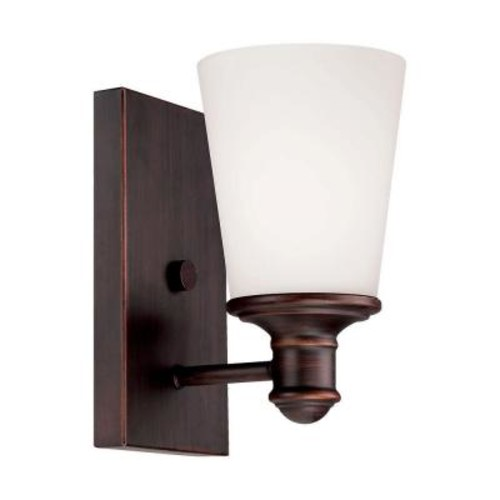 Millennium Lighting Rubbed Bronze Wall Sconce with Etched White Glass
