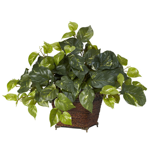 Nearly Natural Pothos w/Coiled Rope Planter Silk Plant