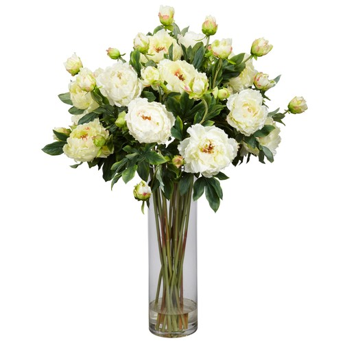 nearly natural Liquid Illusion Silk Peony Floral Arrangement