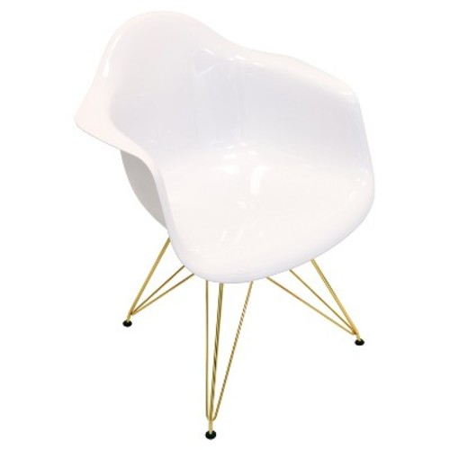 Neo Flair Mid Century Modern Gold Metal Legged Dining Chair Polycarbonate/White - LumiSource