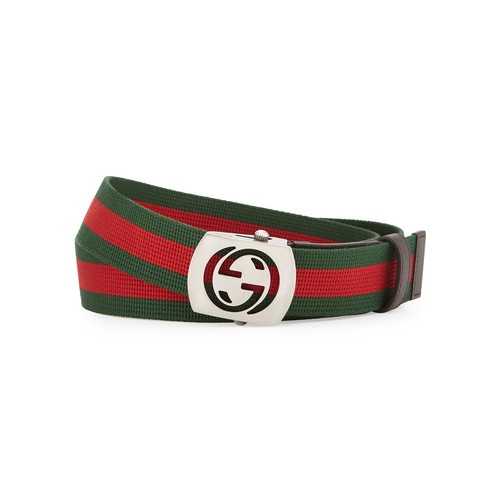 GUCCI Canvas Belt With Cutout Buckle