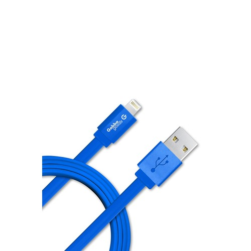 Blue 3 Foot Lightning to USB Flat Wire Cable