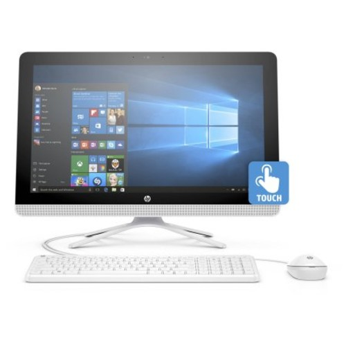 Refurbished HP Snow White 22-b013w All-in-One Desktop PC with Intel Celeron J3710 Processor, 4GB Memory, 21.5