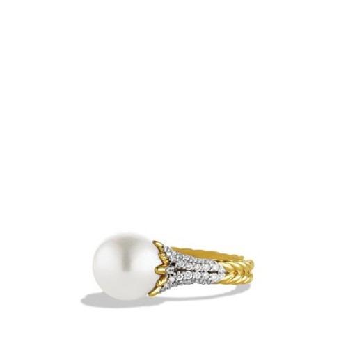 Starburst Pearl Ring with Diamonds in G