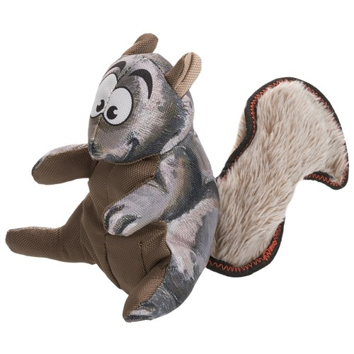 Happy Tails Loonies Furry Tail Squirrel Dog Toy - Squeaker