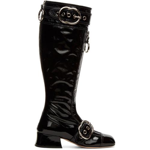MIU MIU Black Patent Knee-High Boots