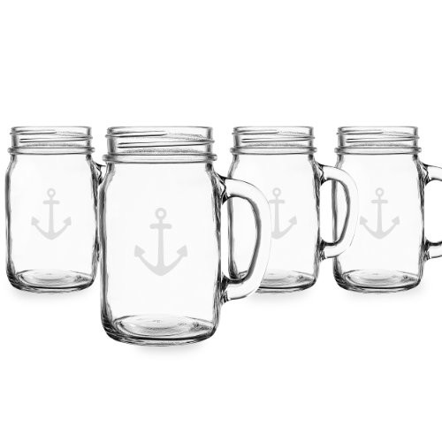 Anchor 16 oz. Glass Old Fashioned Drinking Jars (Set of 4)