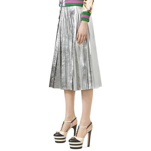 GUCCI Metallic Leather Plissé Skirt, Silver