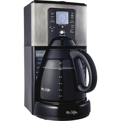 Mr. Coffee Performance Brew 12-Cup Programmable Coffee Maker, Stainless Steel [Black]