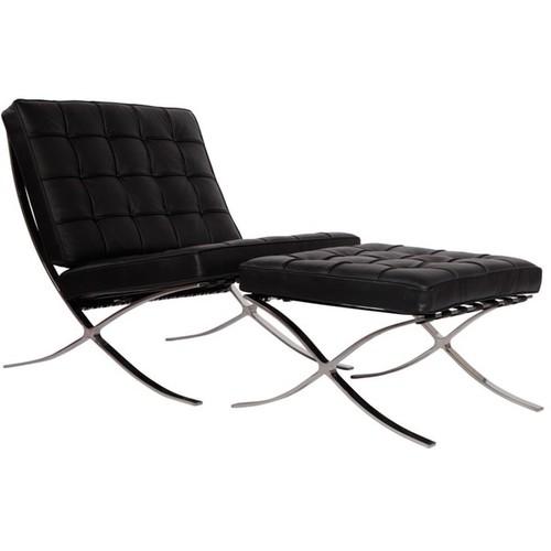 MLF Black Pavilion Chair and Ottoman Set