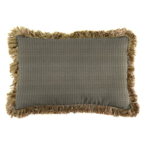 Jordan Manufacturing Sunbrella 19 in. x 12 in. Surge Charcoal Outdoor Throw Pillow with Heather Beige Fringe