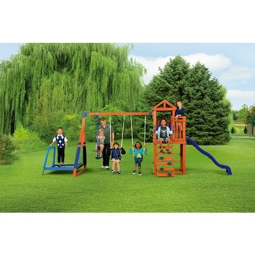 Sportspower Wood Jump 'N Swing Set w/ Trampoline