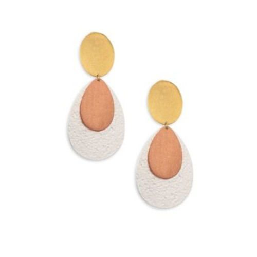 Chime Tri-Tone Double-Drop Clip-On Earrings