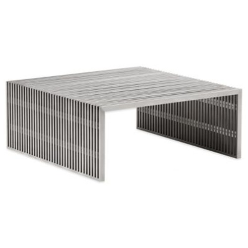 Zuo Novel Square Coffee Table in Brushed Stainless Steel