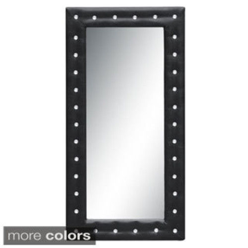 Luca Home Free Standing Silver Tufted Mirror