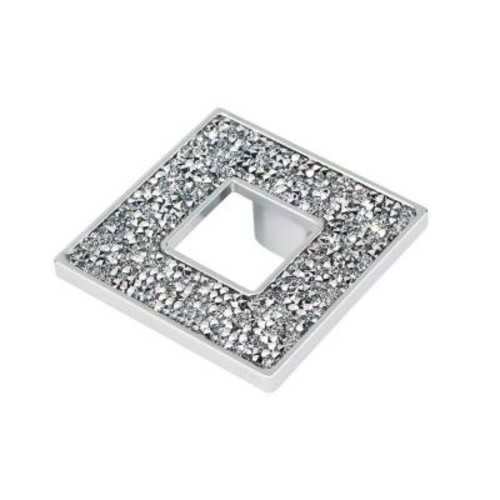 TOPEX Swarovski Crystal Collection 2.55 in. Chrome and Crystal Square Cabinet Knob