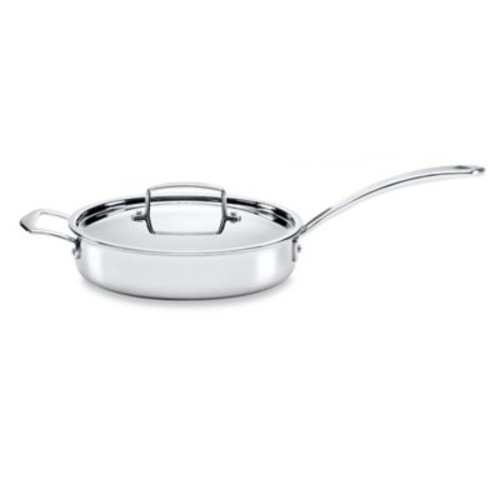 The French Chefs 5-Ply Stainless Steel 3 qt. Covered Saut Pan with Helper Handle