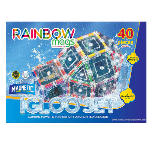 ShapeMags The Igloo Set Rainbow Mags 3D Magnetic Tiles (Case of 40) - 40-Piece Igloo Set