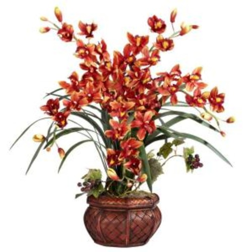 30 in. H Burgundy Cymbidium with Decorative Vase Silk Arrangement