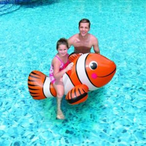 Blue Wave Clown Fish 67 in. Inflatable Ride-On Pool Toy