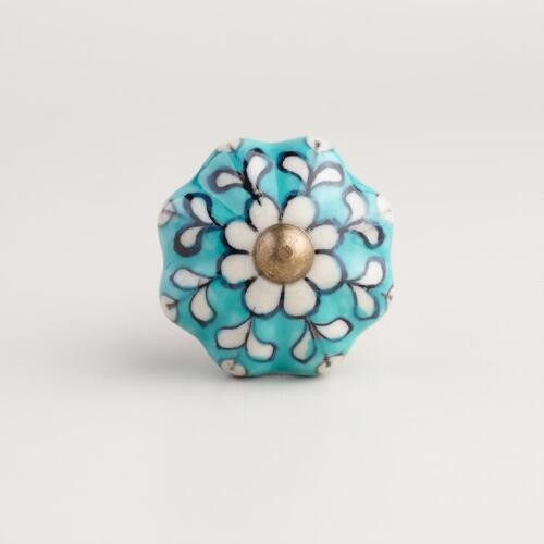Turquoise Ceramic Knobs, Set of 2