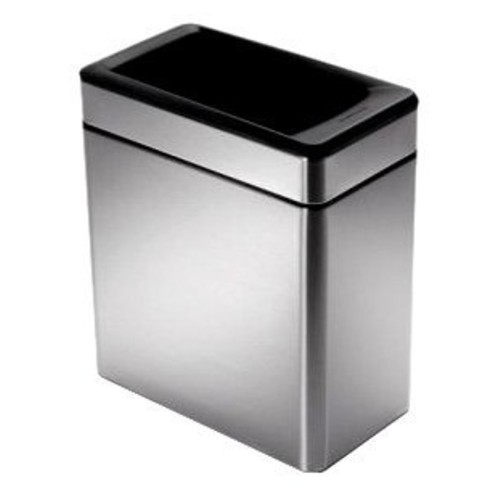 simplehuman Profile Open Trash Can, Stainless Steel, 10 L / 2.6 Gal [Trash can only]
