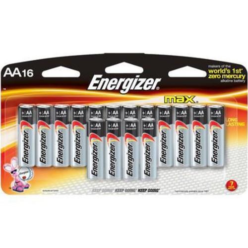 Energizer Max AA-Size 1.5V Alkaline Batteries, 16 Pack E91LP-16