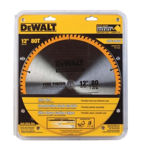 DeWalt 12 in. Dia. 80 teeth Carbide Tip Steel Circular Saw Blade For Fine Tooth Finish(DW3128)