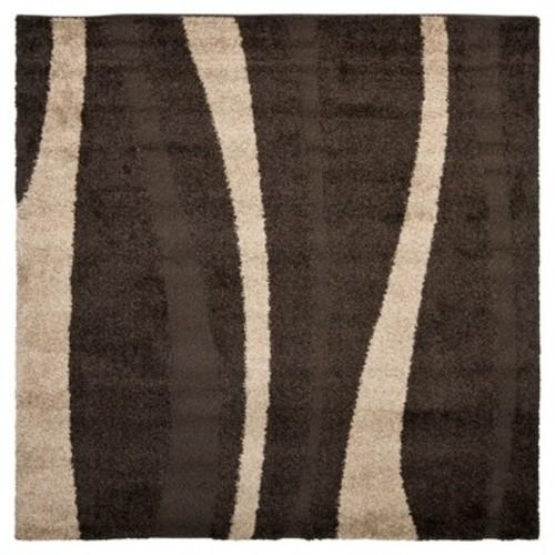 Safavieh Florida Shag Dark Brown/Beige 5 ft. x 5 ft. Round Area Rug