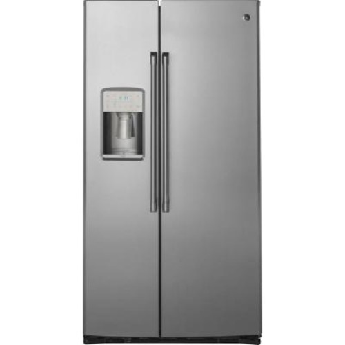 GE 36 in. W 21.9 cu. ft. Built-in Side by Side Refrigerator in Stainless Steel