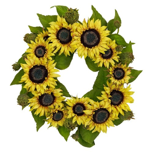 Nearly Natural Sunflower Wreath 22-Inch Yellow 4787