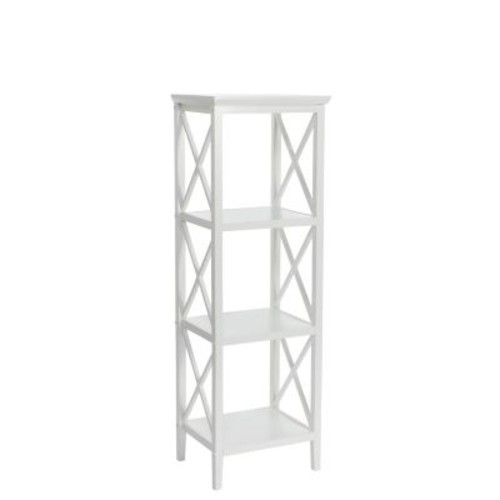 RiverRidge Home Products X- Frame Collection 4-Shelf Storage Tower - White (06-001)
