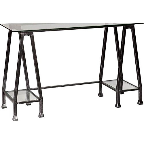 Southern Enterprises HO8778 Distressed Black Metal A-Frame Desk with Glass Top: Kitchen & Dining