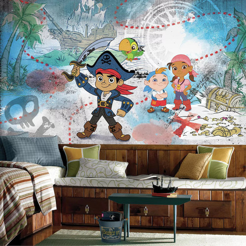 RoomMates 72 in. W x 126 in. H Captain Jake and the Never Land Pirates XL Chair Rail 7-Panel Prepasted Wall Mural