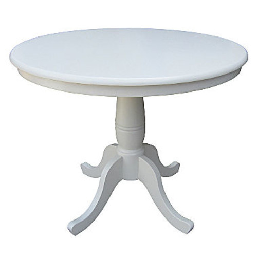 Pedestal Round Wood-Top Dining Table