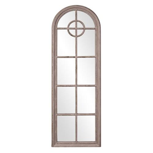 Elizabeth Austin Daydreamer Aged Taupe Window Pane Arched Mirror - 24W x 71H in.