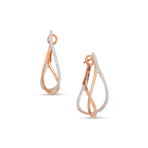 Diamond Crossover Hoop Earrings