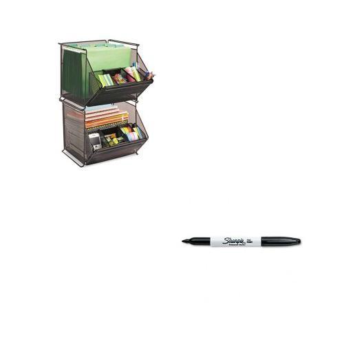 Shoplet Best Value Kit - Safco Onyx Stackable Mesh Storage Bin (SAF2164BL) an...