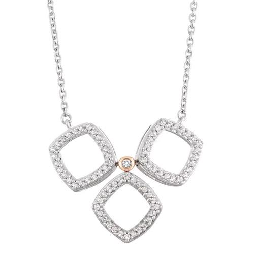 14k White Gold 3/8 Carat T.W. Diamond Tri-Square Necklace