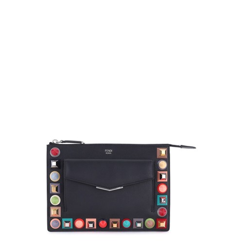 FENDI Mini Studded Leather Zip Pouch
