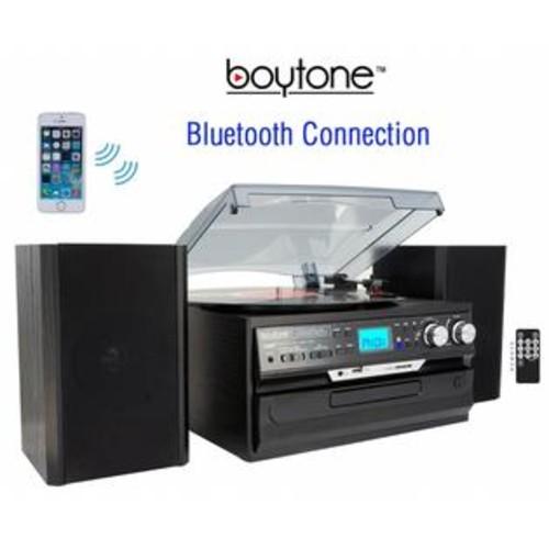 Boytone BT-24DJB 24-Series Black 8-in-1 Bluetooth Home Turntable System