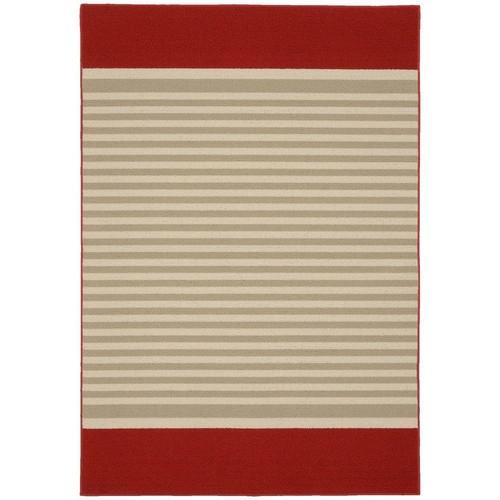 Garland Rug Sideline Crimson Red/Tan/Ivory 5 ft. x 7 ft. 5 in. Area Rug