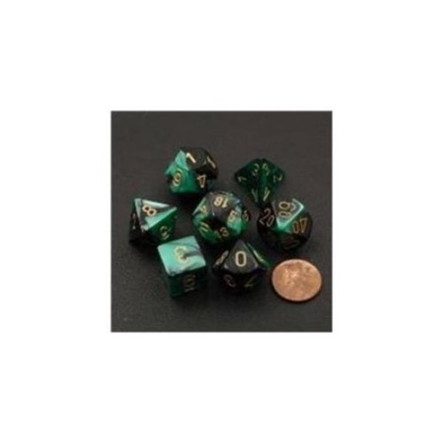 Chessex Manufacturing 26439 Cube Gemini Set Of 7 Dice - Black & Green With Gold Numbering