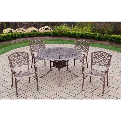 5 pc Cast Aluminum Dining Set with 48-inch Round Table and 4 Chairs