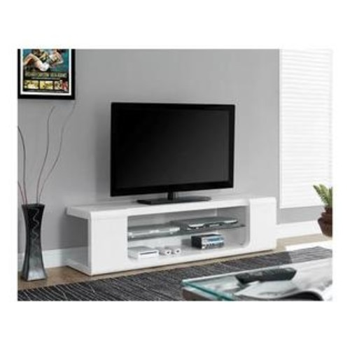 Monarch I 3535 TV Stand - 60L / High Glossy White with Tempered Glass
