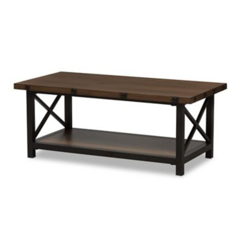Baxton Studio Herzen Metal and Wood Coffee Table