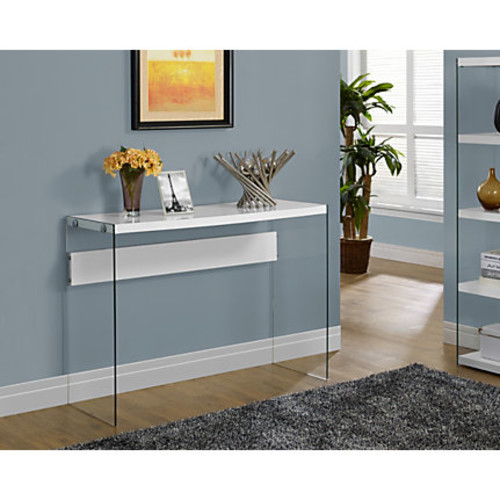 Monarch Specialties Tempered-Glass Console Table, Rectangular, Glossy White