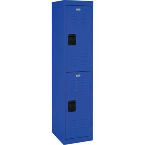 Double tier locker, recessed handle, blue