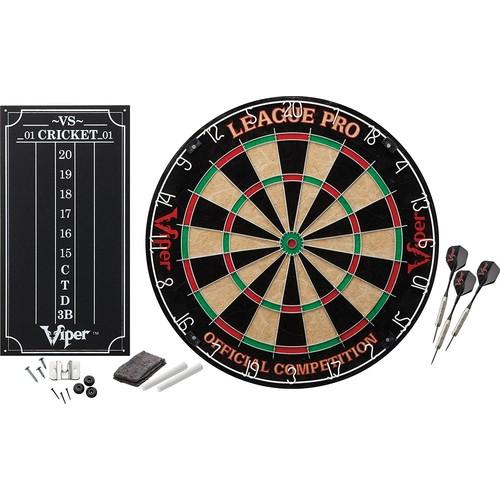 Viper League Pro Sisal/Bristle Steel Tip Dartboard with Staple-Free Bullseye and Cricket Scoreboard Kit