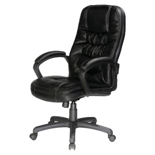 Twin Cushion Bonded Leather Executive Chair Black - Comfort Products